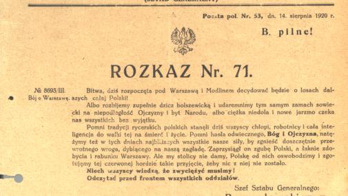 Mazowsze: Rok 2020 rokiem Bitwy Warszawskiej