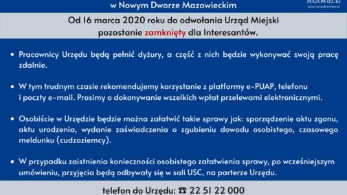Nowy Dwór Maz.: Ograniczenia w funkcjonowaniu Urzędu Miejskiego